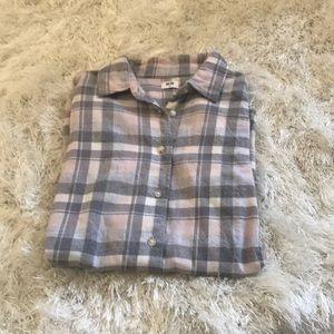 Uniqlo pink & gray checkered shirt XS